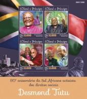 S. TOME & PRINCIPE 2016 - Desmond Tutu, Dalai Lama. Official Issue - Buddhism