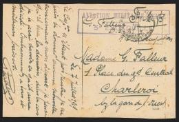 """Carte En SM PMB4/1919 (occupation En Allemagne) + Encad. """"AVIATION MILITAIRE BELGE/5. ESCADRIE"""" Pour Charleroi. - Airmail"""