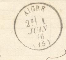 CHARENTE 16 AIGRE LAC Tad 16 01/06/1876 Sur N° 60 TTB - Poststempel (Briefe)