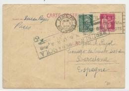 1939 - CARTE ENTIER TYPE PAIX RARE De PARIS Pour BARCELONA (ESPAGNE) Avec CENSURE REPUBLICAINE - MERCURE