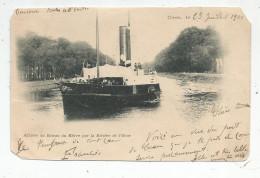 Cp , Bateaux , Arrivée Du Bateau Du HAVRE Par La Rivière De L'ORNE , Dos Simple , Voyagée 1901 - Ferries