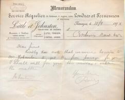 Brief Memorandum Little & Johnston - Londres & Terneuzen - Scheepvaart 1894 - Factures & Documents Commerciaux