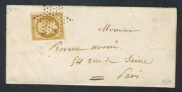 ++ RARE N°9 OBLITERE SUR LETTRE-ENVELOPPE CÔTE 1100€ Signé Calvès   SCAN RECTO-VERSO CONTRACTUEL - 1852 Luigi-Napoleone