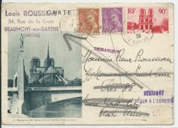 """1939 - CARTE ENTIER ILLUSTREE N°1 De BEAUMONT SUR SARTHE Pour NEW YORK (USA) """"DEBARQUE"""" => RETOUR à L'ENVOYEUR"""