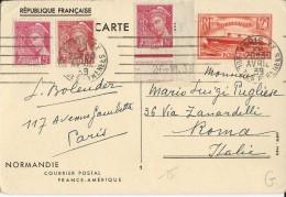 """1939 - CARTE ENTIER ILLUSTREE PAQUEBOT """"NORMANDIE"""" De PARIS Pour ROMA (ITALIE)"""
