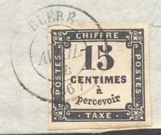 INDRE ET LOIRE 37 BLERE Devant De Lettre Tad 15 Du 25/04/1864 Sur 15 C Taxe (sup) TTB - Marcophilie (Lettres)