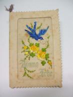 Carte De Voeux Gaufrée Et Brodée BONNE FÊTE - Fleurs Jaunes Et Oiseau Bleu Portant Une Enveloppe Dans Son Bec - Fêtes - Voeux