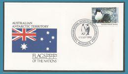 Australie Territoire Antarctique 1992 90 FDC Faune Manchot Adélie Drapeau Oblitération Macquarie Is. - FDC