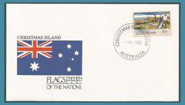Christmas 1990 312 FDC Pirogue à Balancier Bateau Kolek Canoe Indian Ocean Drapeau Oblitération  1993 Christmas Island - Christmas Island