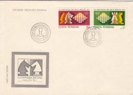 44500- MALTA CHESS OLYMPIAD, COVER FDC, 1980, ROMANIA - Schaken