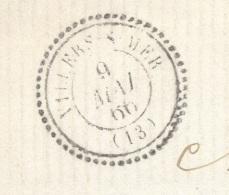 CALVADOS 14 VILLERS SUR MER  LSC Tad Type 22 Du 09/05/1866 GC 4526 Sur N°22 TTB Ind15 - 1849-1876: Classic Period