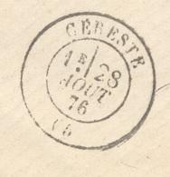 BASSES ALPES 05 CERESTE Env Sans Texte Tad Type 17 Du 28/08/1876 Sur N°60 TTB Ind18 - Marcophilie (Lettres)
