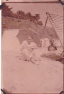 3- Photo Vancances Aout 1929 -entre Kerfany Les Pins Et Le Pouldu -finistere Bretagne Moellan-coins Abimés -plage