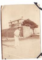 7- Photo Vancances Aout 1929 -entre Kerfany Les Pins Et Le Pouldu -finistere Bretagne Moellan-coin Abimé - Tennis - Lieux