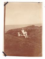 8- Photo Vancances Aout 1929 -entre Kerfany Les Pins Et Le Pouldu -finistere Bretagne Moellan-coin Abimé -
