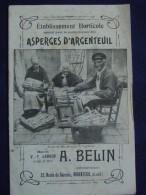 S.-& O. / *ASPERGES D'ARGENTEUIL*,Maison A. Belin -Extr.Catalogue Gal -Illustré.Fraisiers. - Reclame