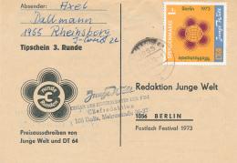 RHEINSBERG - 1973 , Junge Welt  Spendenmarke Nach Berlin - DDR