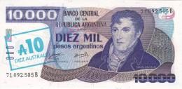 BILLETE DE ARGENTINA DE 10000 PESOS = 10 AUSTRALES DEL AÑO 1985  (BANKNOTE) SIN CIRCULAR-UNCIRCULATED - Argentina