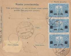 JUGOSLAWIEN 1924 - 10 Para Ganzsache + 8 D + 3 X ? D Mit Überdruck Auf Paketkarte Gel.von Ludbreg Nach Zagreb - 1919-1929 Königreich Der Serben, Kroaten & Slowenen