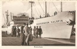 """Antwerpen : Kruisschans Met Schip """" Gouverneur Galopin """" - Bateaux"""