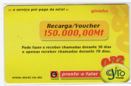 MOZAMBIQUE PREPAYEE GIRO 150 000 Mt Année 2005 - Mozambico