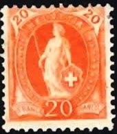 SWITZERLAND 1892 Standing Helvetia 20c (Perf 11.5 X 12) (Wmk: Cross In Oval) Mint - Unused Stamps