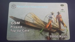 Myanmar-g.s.m Prepiad Top Up Card-(10.000 Kyats)-(a Fishing Boat Has A Fold -up View On The Left)used+1card Prepiad Free