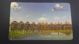 Myanmar-g.s.m Top Up Card-(5.000ks)-asia Mega Link-(see Picture On The Folding This Card)used Card+1card Prepiad Free