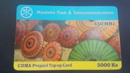 Myanmar-cdma Prepiad Top-up Card-450mhz-(5.000ks)-used Card+1card Prepiad Free