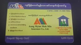 Myanmar-aung Myint Moh Min Insurance Co Ltd-(5.000kyats)-used Card+1card Prepiad Free - Myanmar