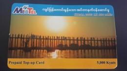 Myanmar-mectel Prepiad Top-up Card-(5.000kyats)-used Card+1card Prepiad Free