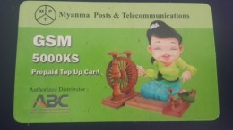 Myanmar-authorized Distributor-g.s.m Prepiad Top Up Card-(5.000ks)-used Card+1card Prepiad Free - Myanmar (Burma)