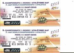 Championnats Du Monde Athlétisme Paris 2003 - Tickets D'entrée