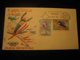 Madrid 1972 Sapporo Japan Ski Jumping Skiing Ice Skating Olympic Games Olympics Fdc Cover Spain - Ski