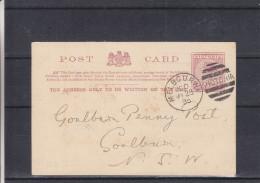 Australie - Victoria - Carte Postale De 1895 - Entier Postal - Oblitération Melbourne - Expédié Vers Goulburn - 1850-1912 Victoria