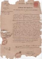 GUADELOUPE Timbre Fiscal Cachet 2 Sur Un Acte De Décès 1869 état De L'acte Très Moyen - Fiscaux