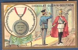 Chromo Chocolat Guerin-Boutron Décorations Françaises Et étrangères Médaille D´honneur Militaire Allemagne 1871 Bravoure - Guerin Boutron