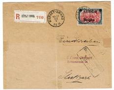 OC 25 Recommandé  Bierset-Awans Vers Allemagne (Stuttgart)  Censure  Verso 3 Cachets Arrivée Stuttgart - WW I
