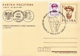 Poland Firemen Cancel On Postcard - Firemen