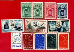 Etat: ** Monaco  12 Timbres Série Jules Verne , St Vincent De Paul  , De La Salle , Série Portes Palais       P 200 - Vrac (max 999 Timbres)