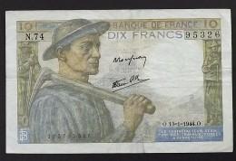 "Billet France 10 Francs  ""MINEUR""  13-1-1944  TTB - 1871-1952 Circulated During XXth"