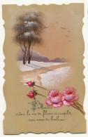Carte Celuloid Peinte Main Amitié Paysage Neige Fleur - Postcards