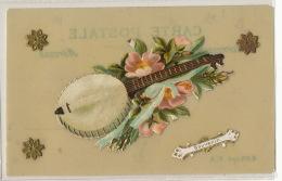 Carte Celuloid Avec Ajoutis Chromo Mandoline Guitare - Cartes Postales