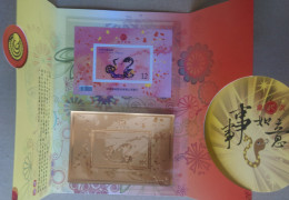 Special Folder 2012 Chinese New Year Zodiac Stamp S/s  & Gold Foil- Snake 2013 (Kaohsiung) Unusual - Snakes