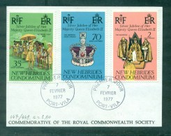 N°447/ 449 Jubilé De La Reine Elisabeth II Oblitéré 1er Jour Port - Vila 1977 Sur Fragment - FDC