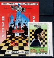 North Korea, Chess, 1986, 1 Stamp +s/s Block - Chess