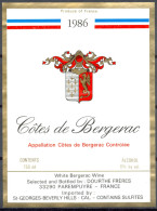 181 - Côtes De Bergerac - 1986 - White Bergerac Wines - Dourthe Frères 33290 - Parempuyre Imported St Geroges Beverley H - Bergerac