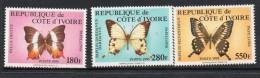 1995 Cote D´Ivoire Ivory Coast Butterflies Papillon Complete  Set Of  3 MNH RARE - Mariposas