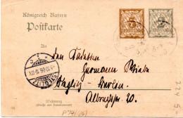 "Bayern Amtl.Ganzs.-Postkarte ""Königreich Bayern"" P 74/04 3Pf.braun Neben 2Pf.grau, Gel. 4.10.06 Nach Berlin-Steglitz - Bavière"