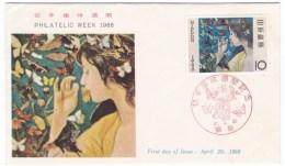 Japan Sc#879 April 20 1966 Philatelic Week 10 Yen Issue 1960s FDC Cover - 1926-89 Emperor Hirohito (Showa Era)
